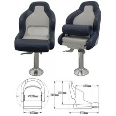 Кресло с болстером «First Mate», синий + белый